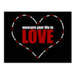 Measure Your Life In Love Heart Shaped Postcards