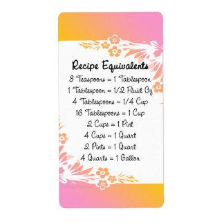 Measurement Equivalents Kitchen Helper Floral Label