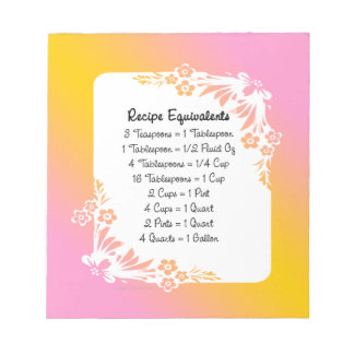 Measurement Equivalents Kitchen Helper Floral Notepad