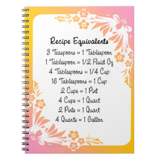 Measurement Equivalents Kitchen Helper Floral Spiral Notebook