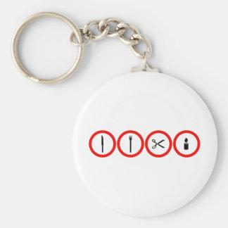 Measurer, fork, shears, light nothing for children basic round button keychain