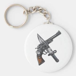 Measurer pistol knife gun basic round button keychain