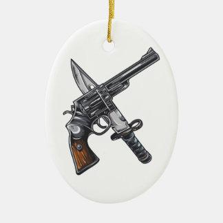 Measurer pistol knife gun ceramic ornament