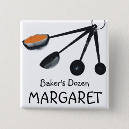 Measuring spoons spices cooking baking name tag button