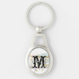 Measuring Tape Brushed Overlay Silver-Colored Oval Metal Keychain