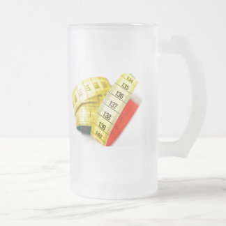 Measuring tape frosted glass beer mug