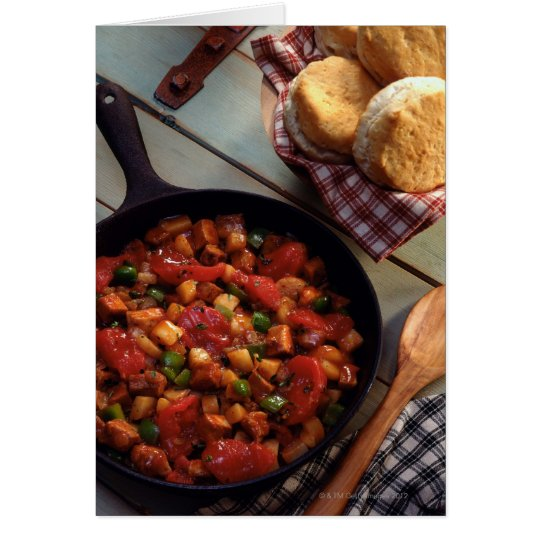 Meat and potato hash with biscuits card