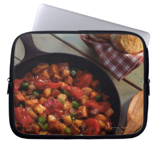 Meat and potato hash with biscuits computer sleeve