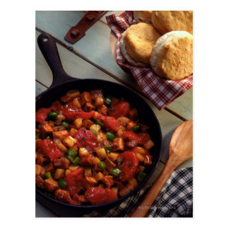 Meat and potato hash with biscuits postcard