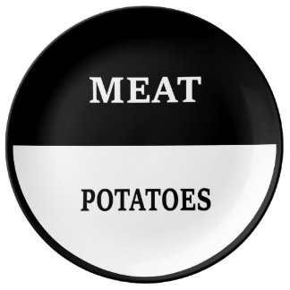 Meat and Potatoes (BW) Porcelain Plate