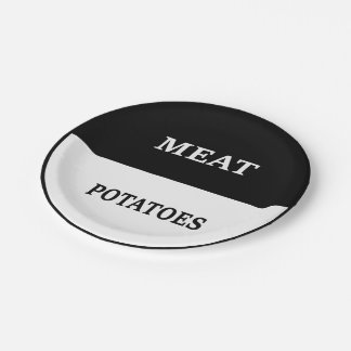 Meat and Potatoes (BW) Paper Plate