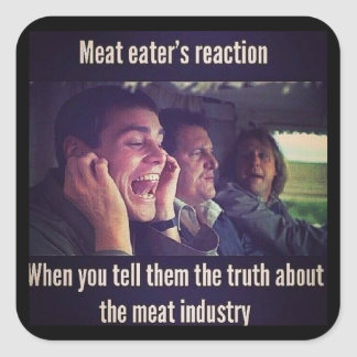 Meat eater's reaction square sticker