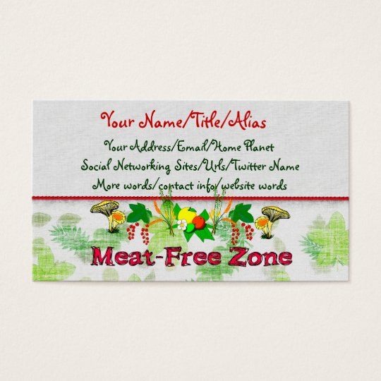 Meat-Free Zone Business Card