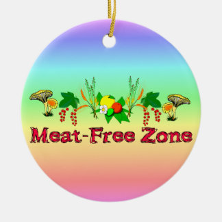 Meat-Free Zone Double-Sided Ceramic Round Christmas Ornament