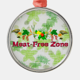 Meat-Free Zone Round Metal Christmas Ornament