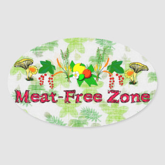 Meat-Free Zone Oval Sticker