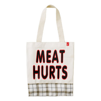 Meat hurts zazzle HEART tote bag