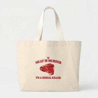 Meat is murder tote bags
