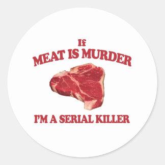 Meat is murder classic round sticker
