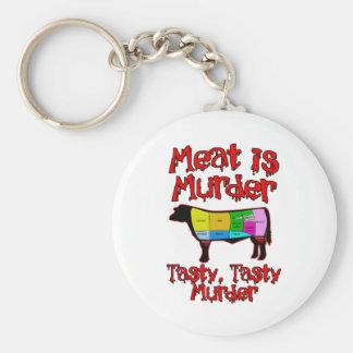 Meat is Murder. Tasty, Tasty Murder. Keychain