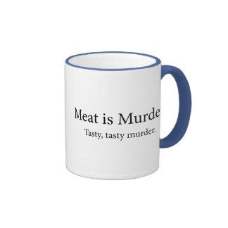 Meat Is Murder Tasty Tasty Murder Ringer Mug