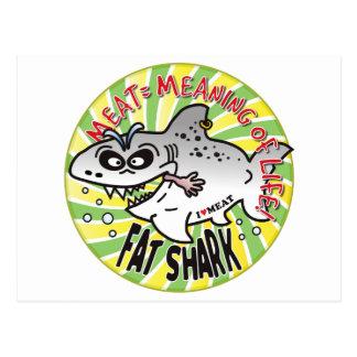Meat Life Fat Shark Postcard