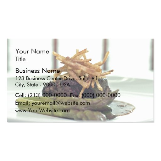 Meat served with finger chips business cards