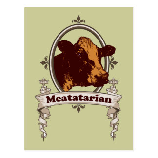 Meatatarian Cow Banner Postcards