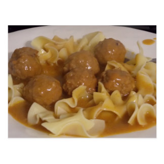 meatballs and noodles card