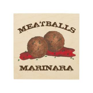 Meatballs Marinara Italian Food Cooking Kitchen Wood Wall Decor