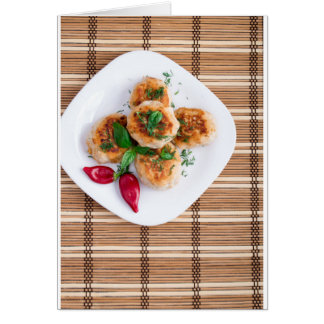 Meatballs of minced chicken with red pepper card