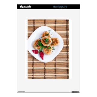 Meatballs of minced chicken with red pepper decals for iPad