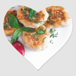 Meatballs of minced chicken with red pepper heart sticker