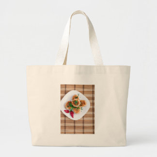 Meatballs of minced chicken with red pepper large tote bag