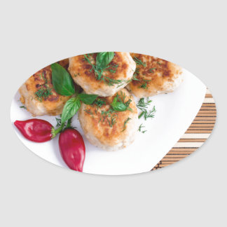Meatballs of minced chicken with red pepper oval sticker