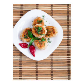 Meatballs of minced chicken with red pepper postcard