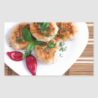 Meatballs of minced chicken with red pepper rectangular sticker