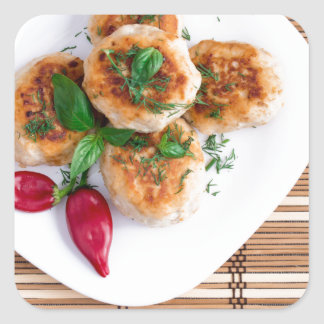 Meatballs of minced chicken with red pepper square sticker