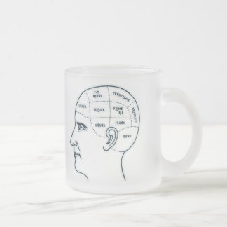 Meathead Phrenology Frosted Glass Coffee Mug