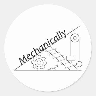 Mecánicamente inclinado pegatina redonda