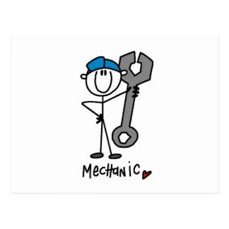 Mecánico con la figura del palillo de la llave tarjetas postales