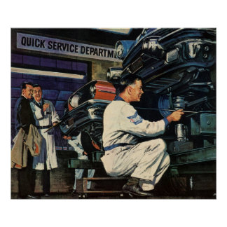 Mecánico de automóviles del negocio del vintage, póster