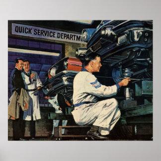 Mecánico de automóviles del negocio del vintage, s posters