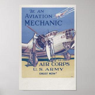 Mecánico de la aviación poster