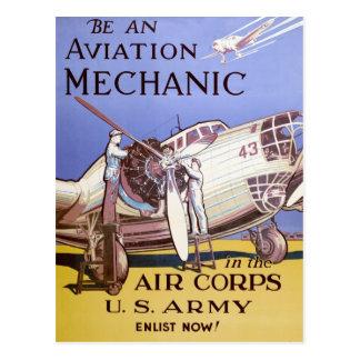 Mecánico de la aviación postales