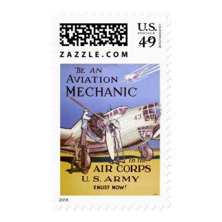 Mecánico de la aviación timbres postales