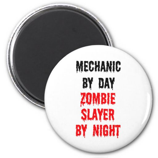 Mecánico del asesino del zombi del día por noche imán redondo 5 cm