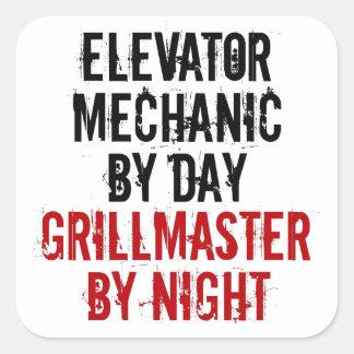Mecánico del elevador de Grillmaster Calcomanias Cuadradas