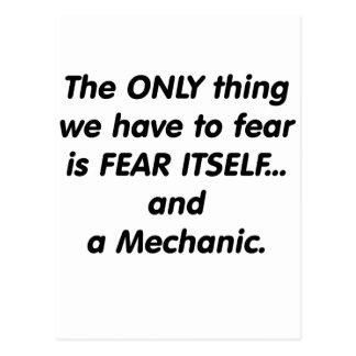 Mecánico del miedo tarjeta postal