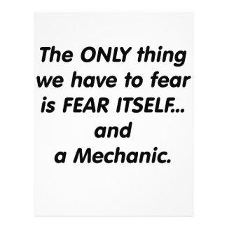 Mecánico del miedo tarjeta publicitaria